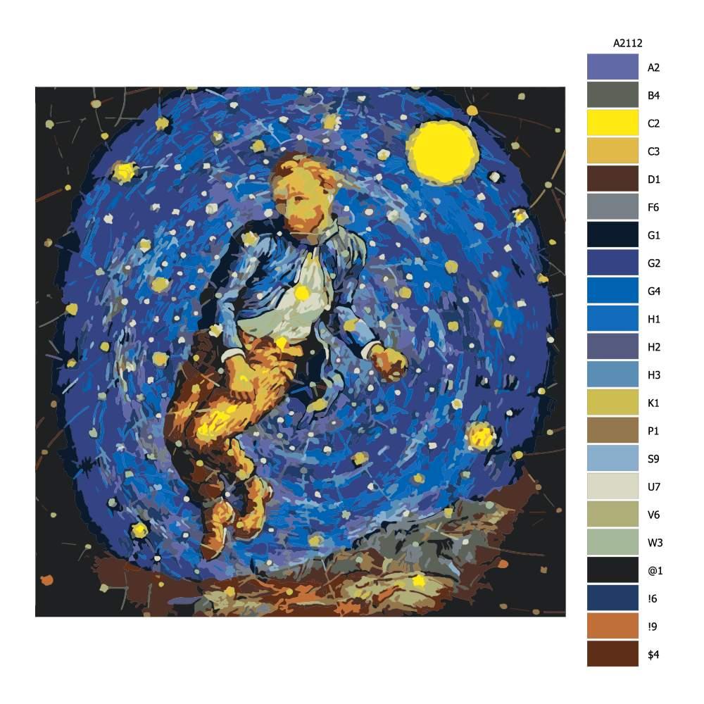 Návod pro malování podle čísel Hvězdná obloha Van Gogh