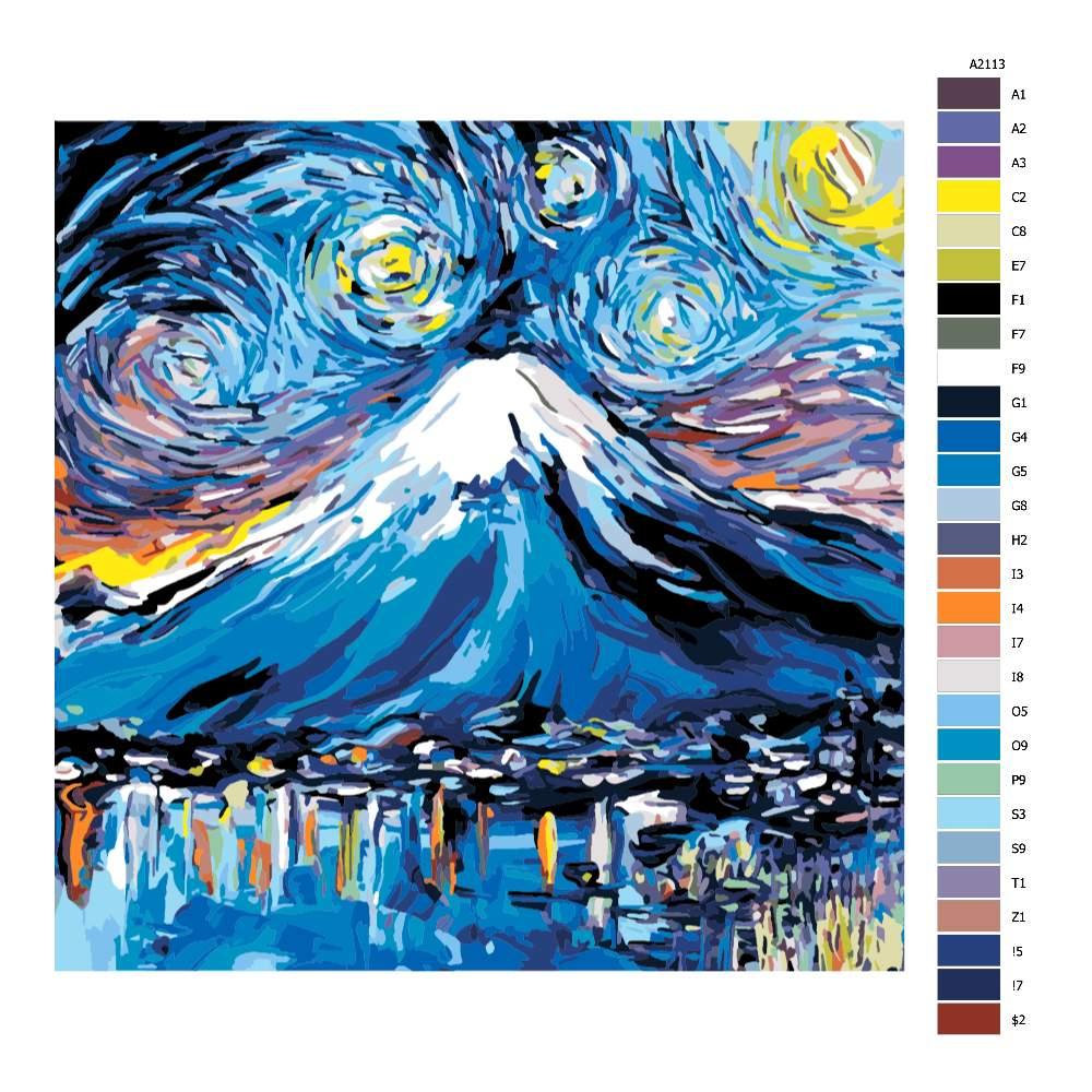 Návod pro malování podle čísel Nikdy neviděl Fuji Van Gogh