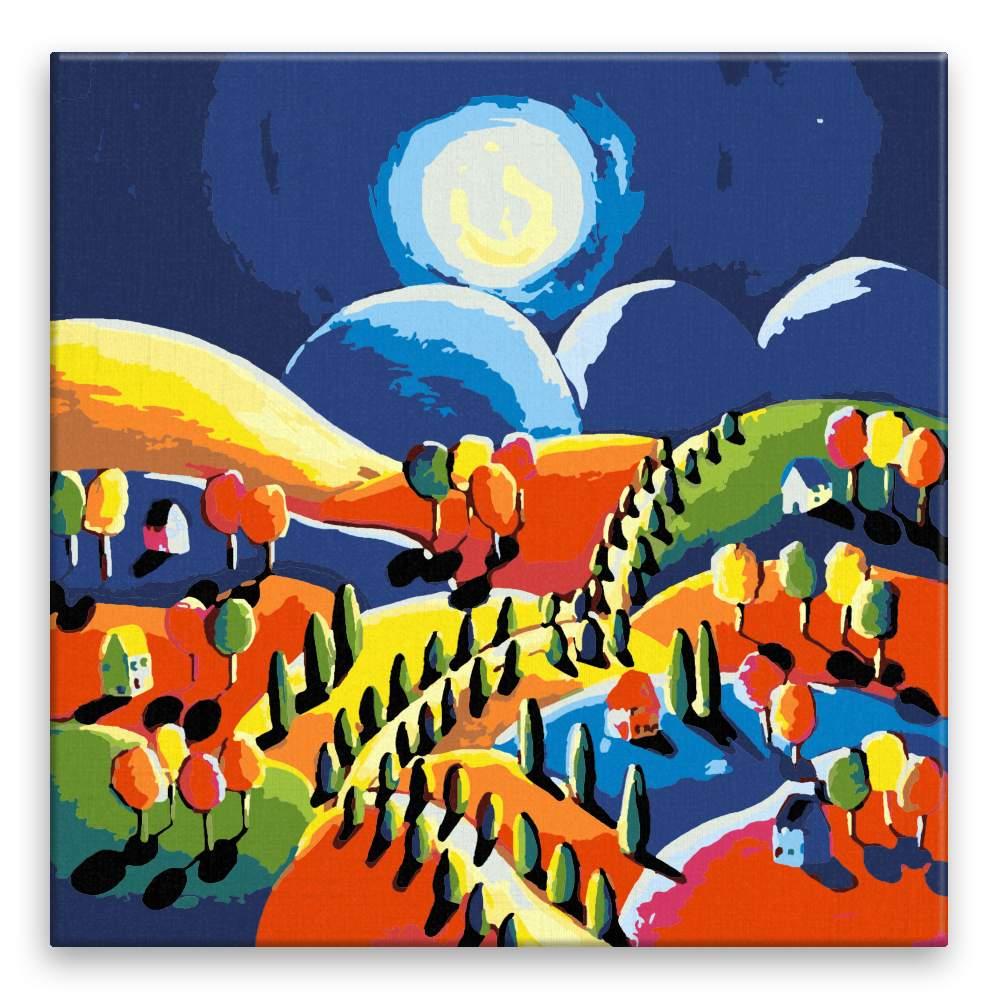 Malování podle čísel Vesnice při měsíčním svitu