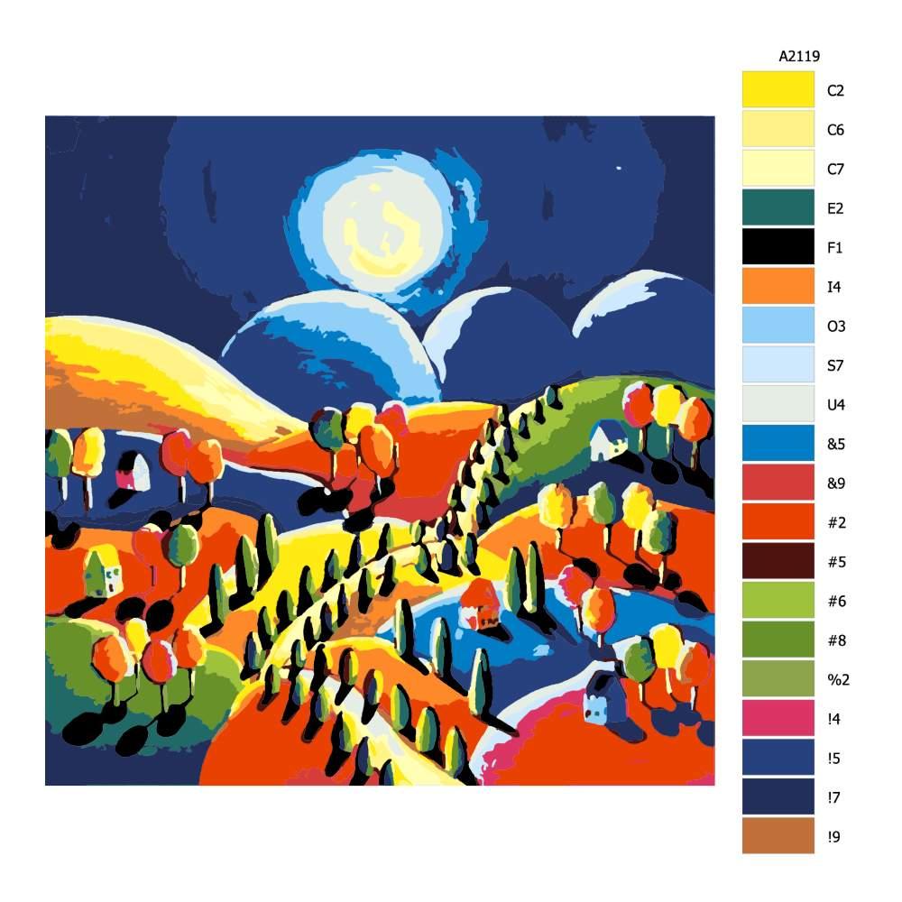 Návod pro malování podle čísel Vesnice při měsíčním svitu