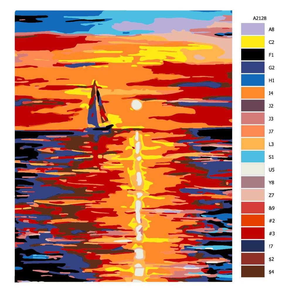 Návod pro malování podle čísel Plachtění při západu slunce