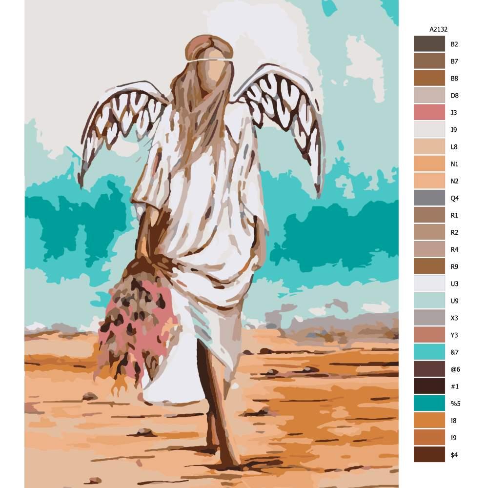 Návod pro malování podle čísel Anděl v písku s kytkou