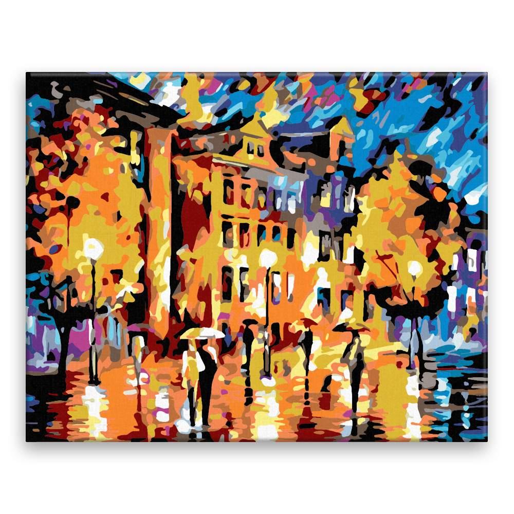Malování podle čísel Za deště ve městě