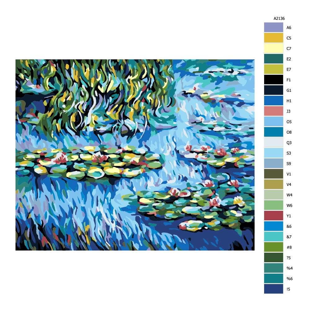 Návod pro malování podle čísel Vodní lekníny a vrba