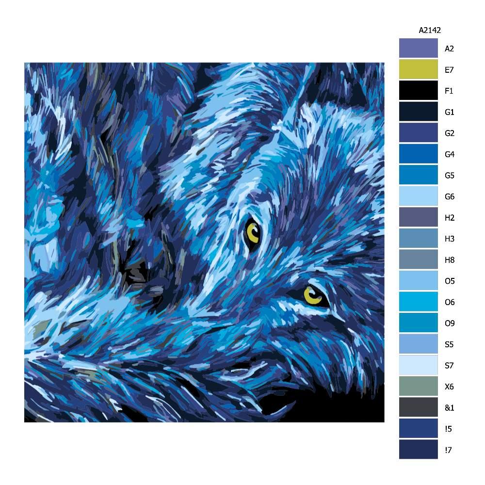 Návod pro malování podle čísel Vlčí žluté oči