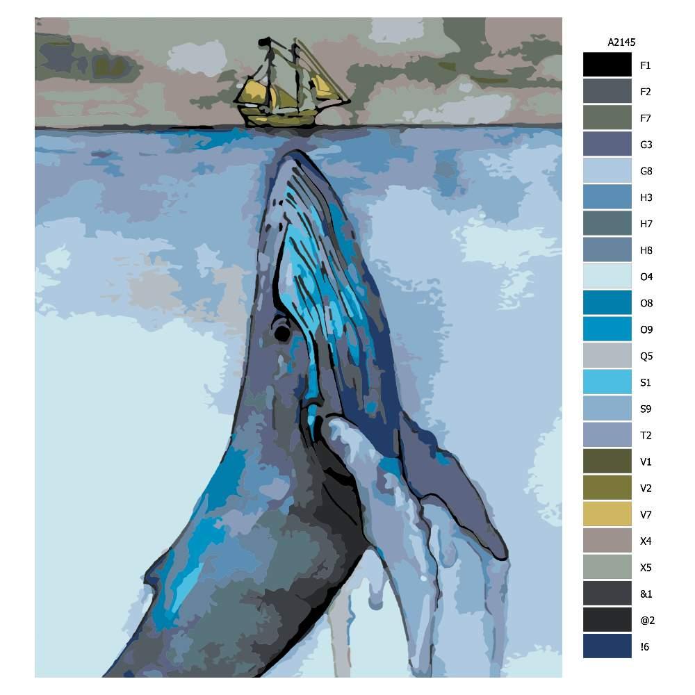 Návod pro malování podle čísel Velryba a loď
