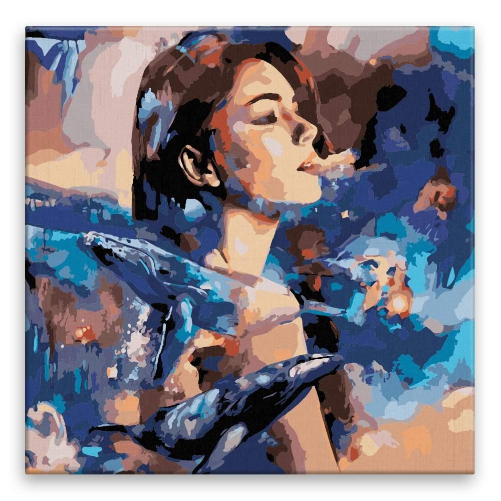 Malování podle čísel Ona v pozadí obrích velryb