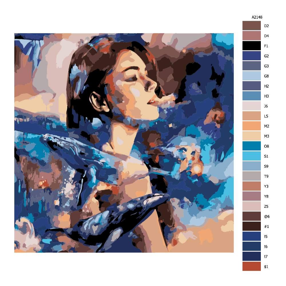 Návod pro malování podle čísel Ona v pozadí obrích velryb