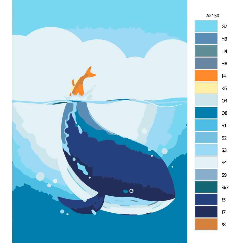 Návod pro malování podle čísel Velryba s oranžovým ocasem