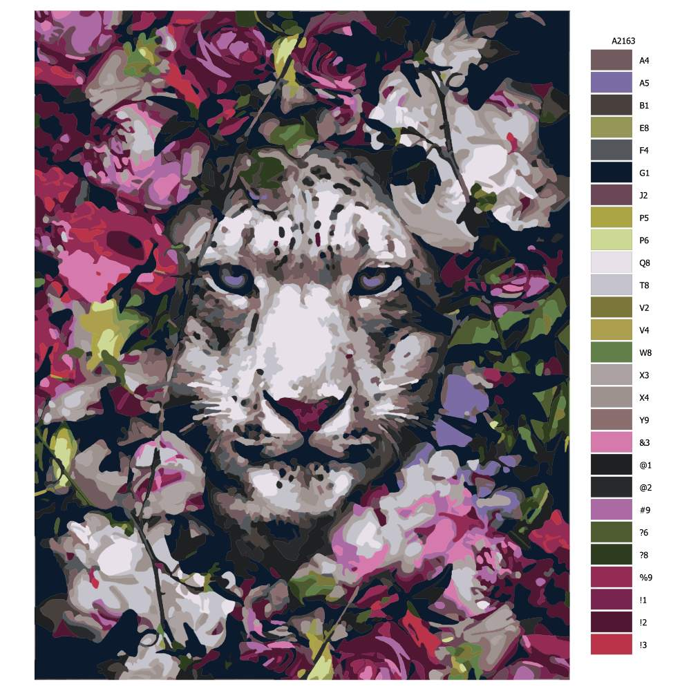 Návod pro malování podle čísel Bílý tygr v květinách