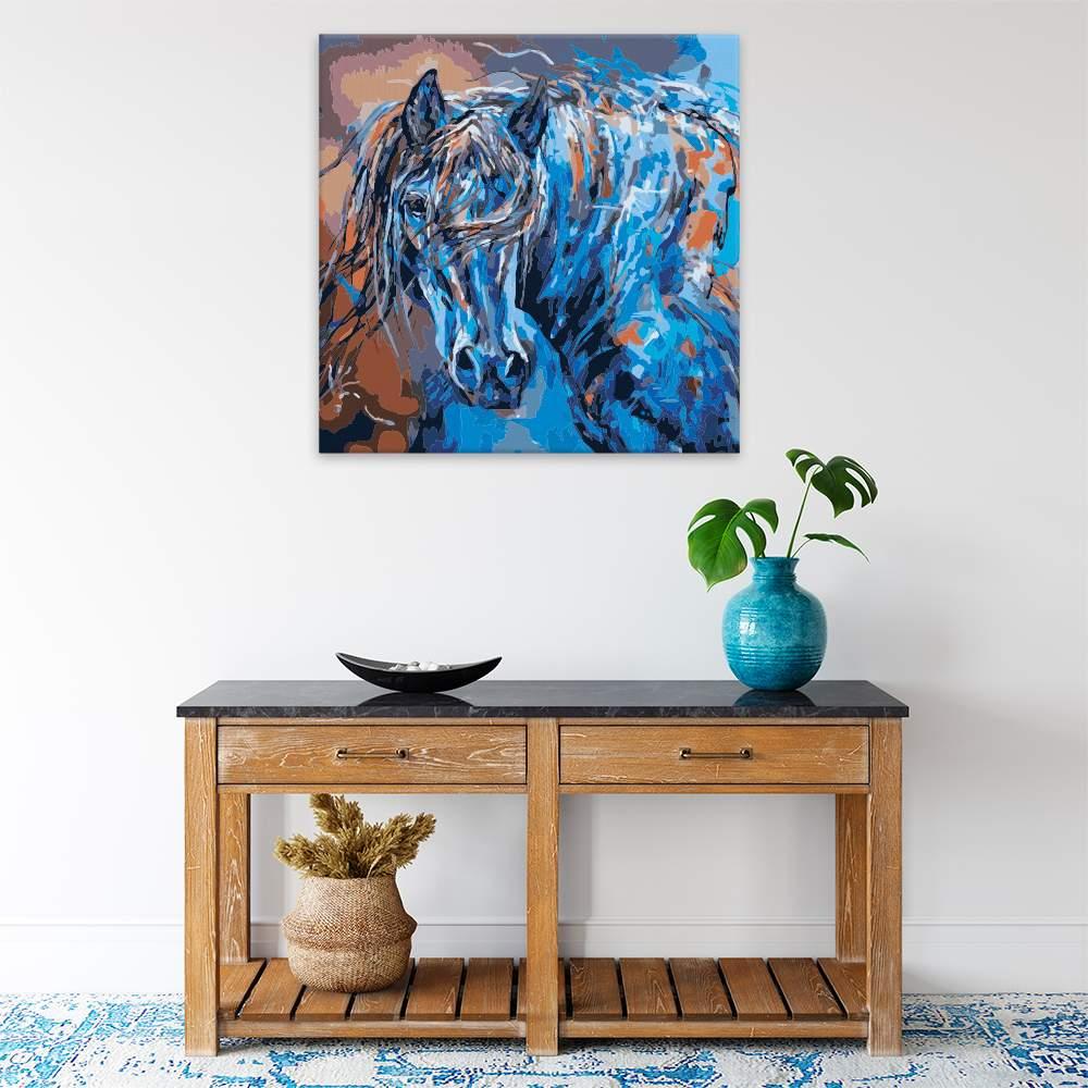 Malování podle čísel Kůň v modré