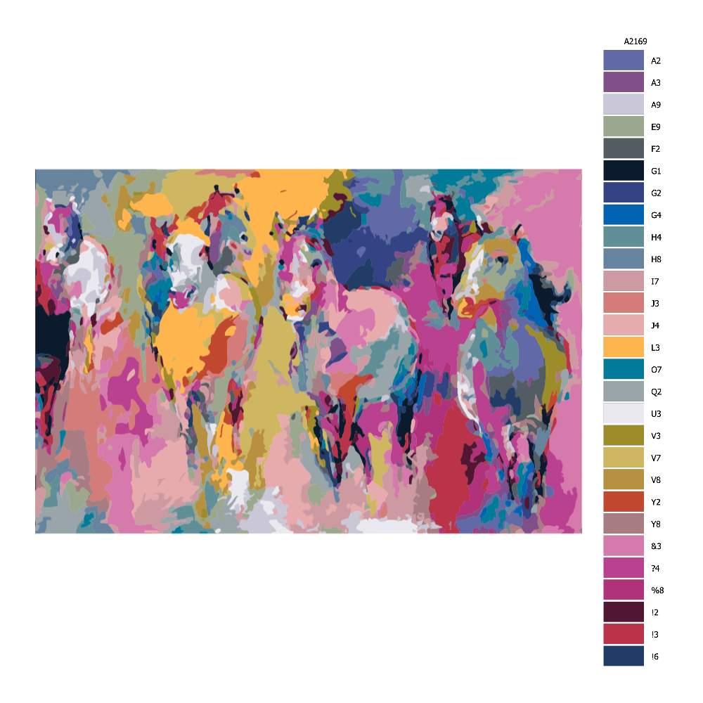 Návod pro malování podle čísel Barevné stádo koní