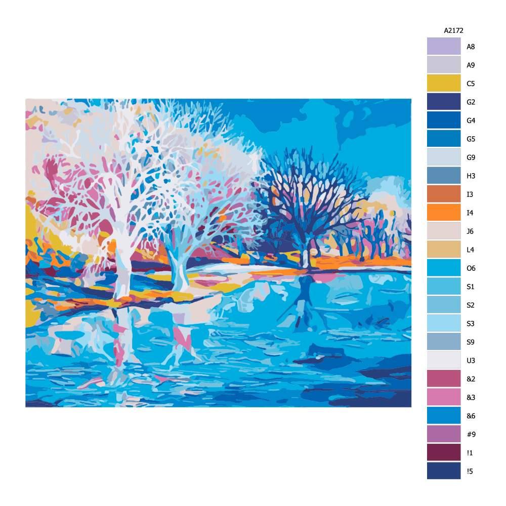 Návod pro malování podle čísel Zima v Holandsku