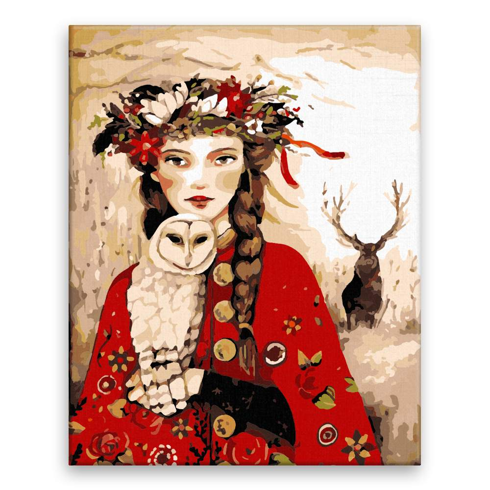 Malování podle čísel Žena sova a jelen