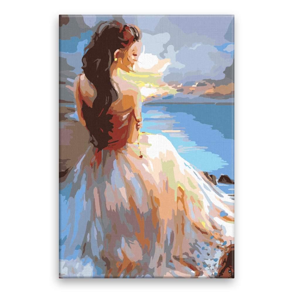 Malování podle čísel Žena na pobřeží