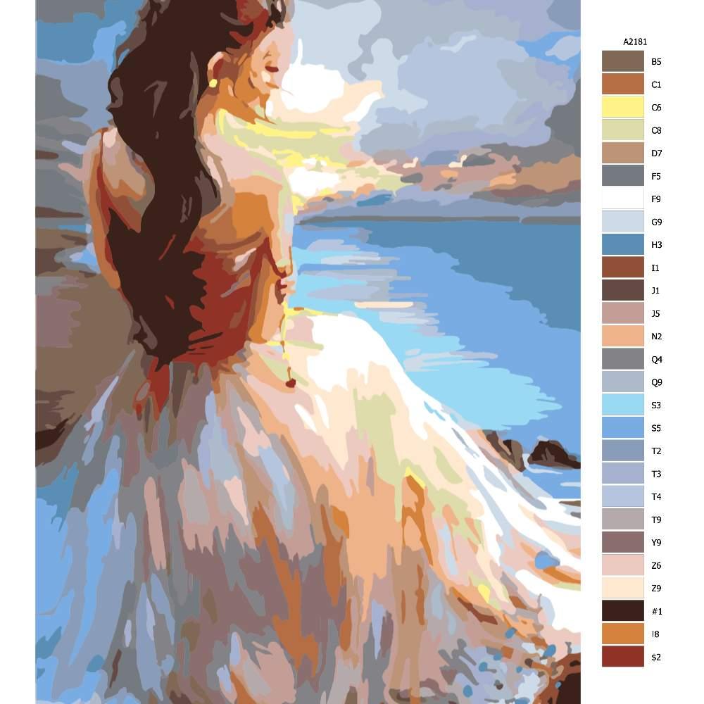 Návod pro malování podle čísel Žena na pobřeží