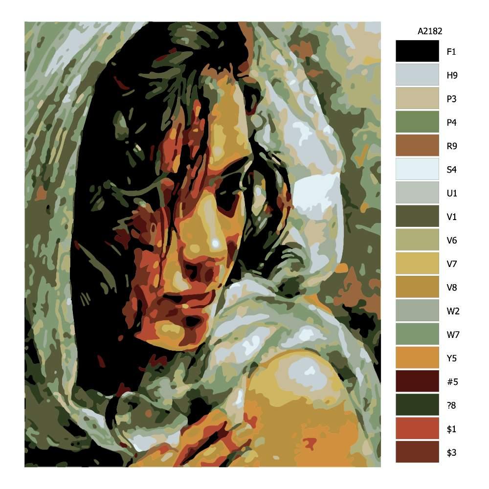 Návod pro malování podle čísel Zahalená v šátku
