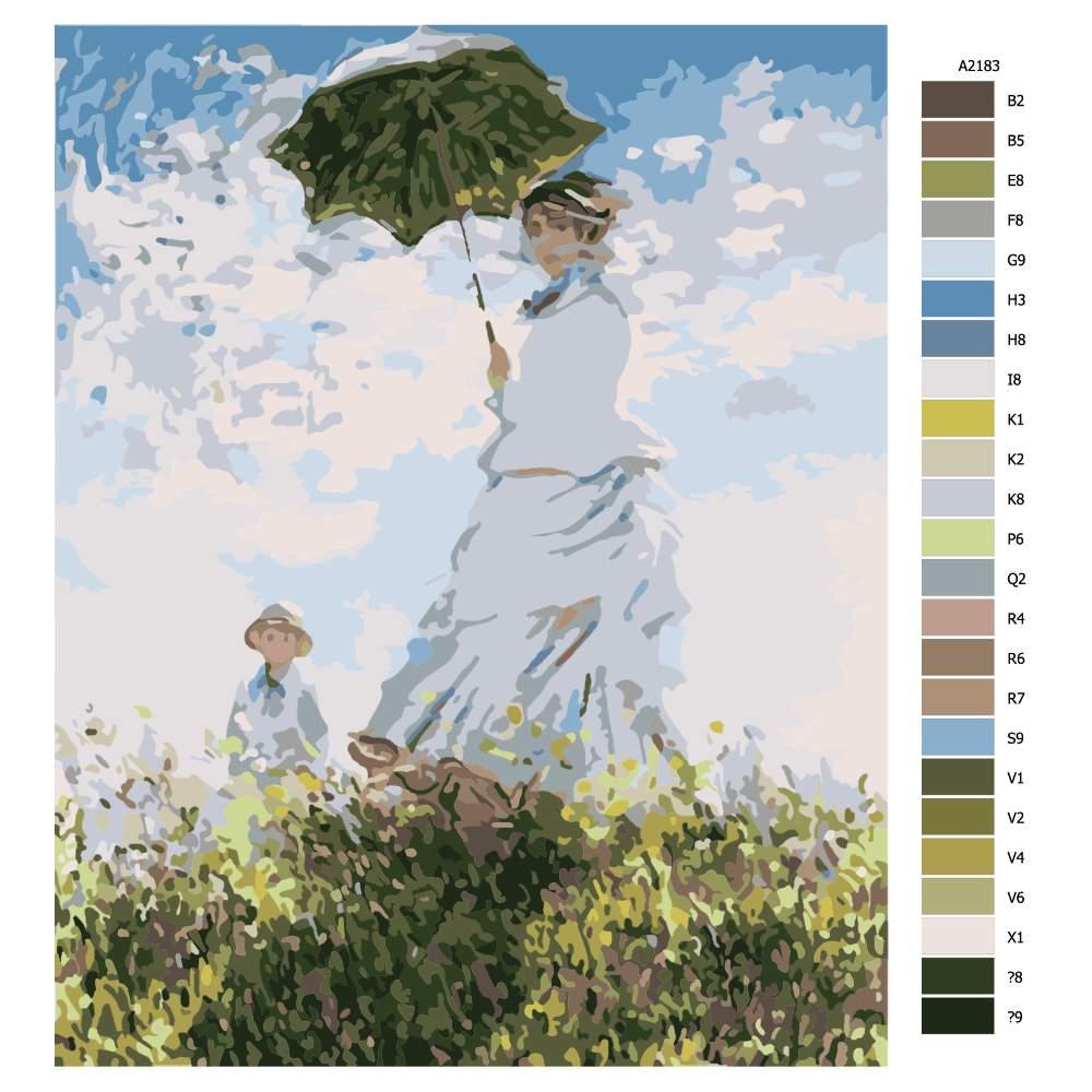 Návod pro malování podle čísel Dáma se synem