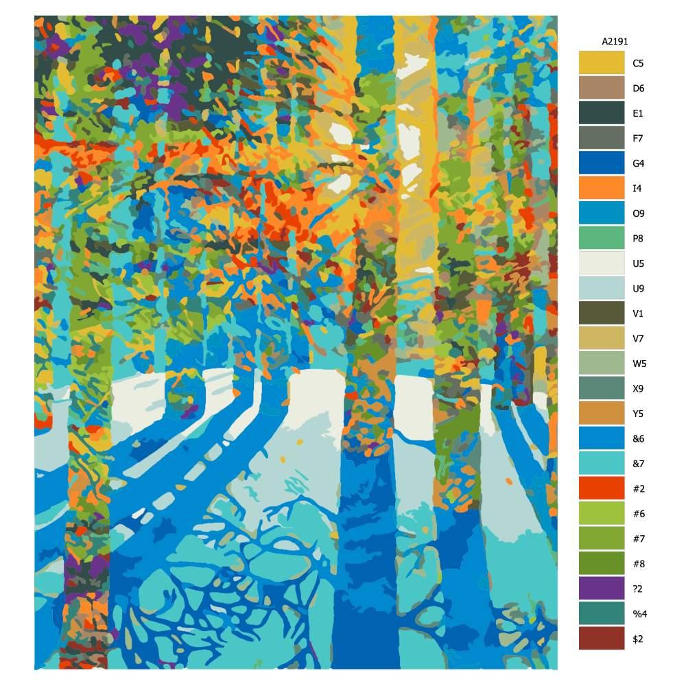 Návod pro malování podle čísel Slunce prosvítá lesem