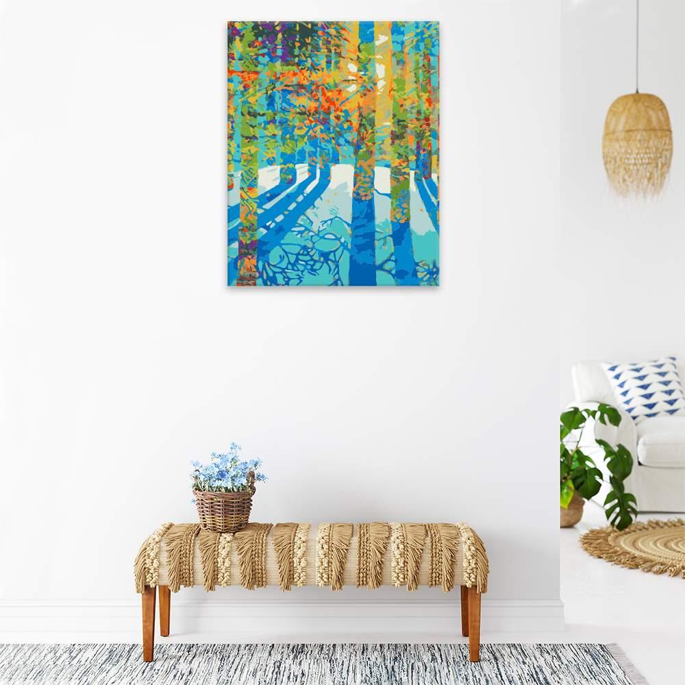 Malování podle čísel Slunce prosvítá lesem