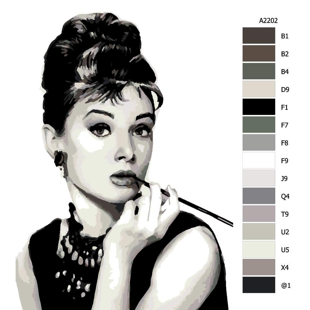 Návod pro malování podle čísel Audrey Hepburn 01
