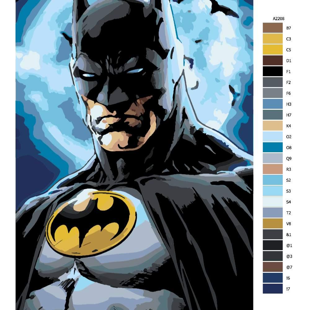 Návod pro malování podle čísel Batman 03