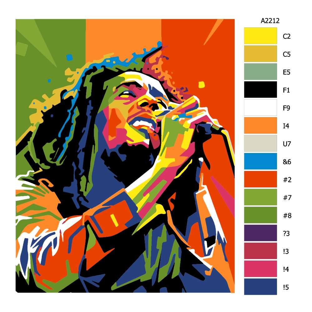 Návod pro malování podle čísel Bob Marley 02