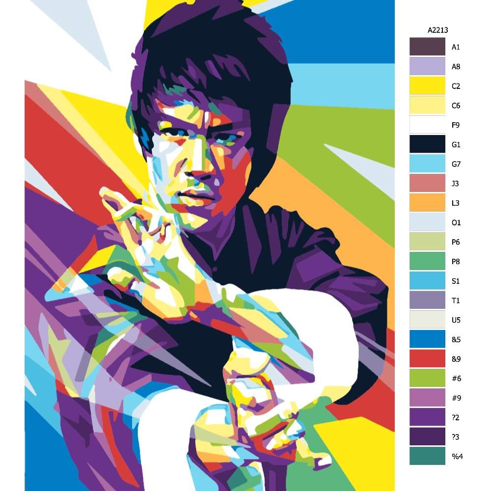 Návod pro malování podle čísel Bruce Lee 01