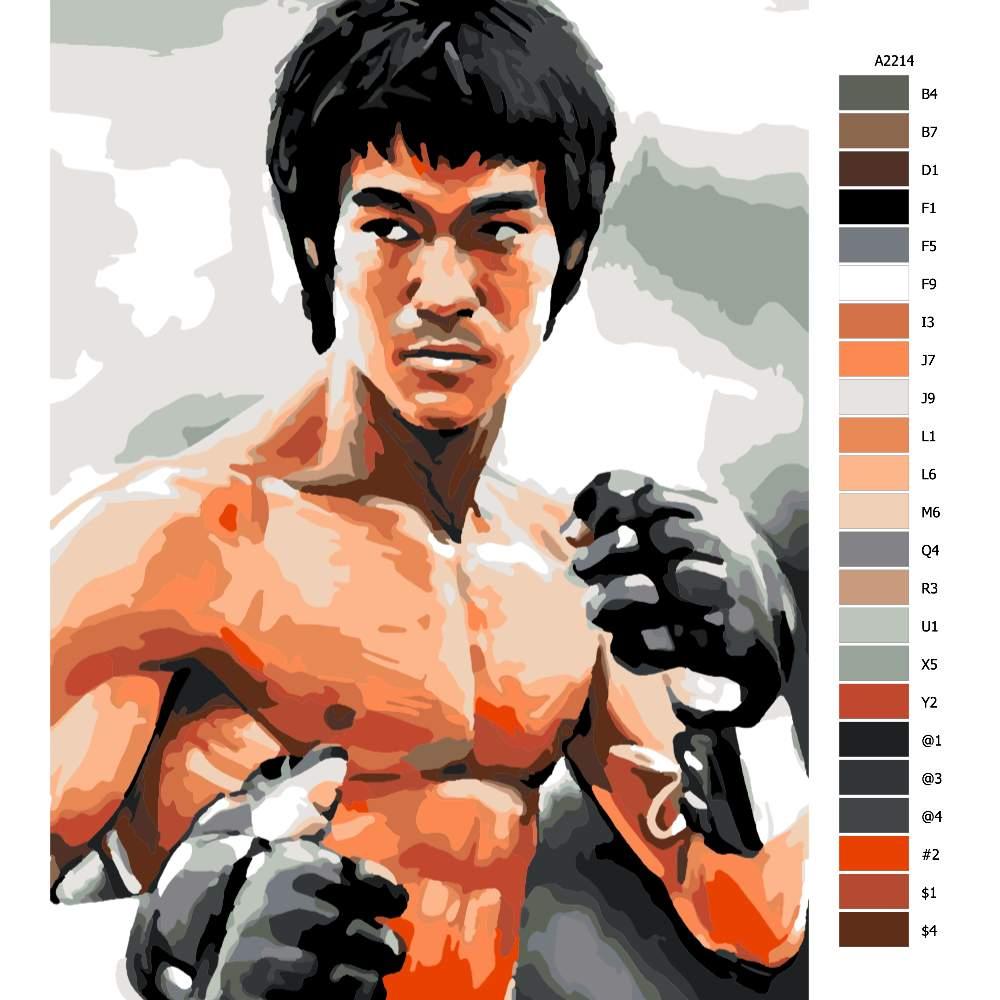 Návod pro malování podle čísel Bruce Lee 02