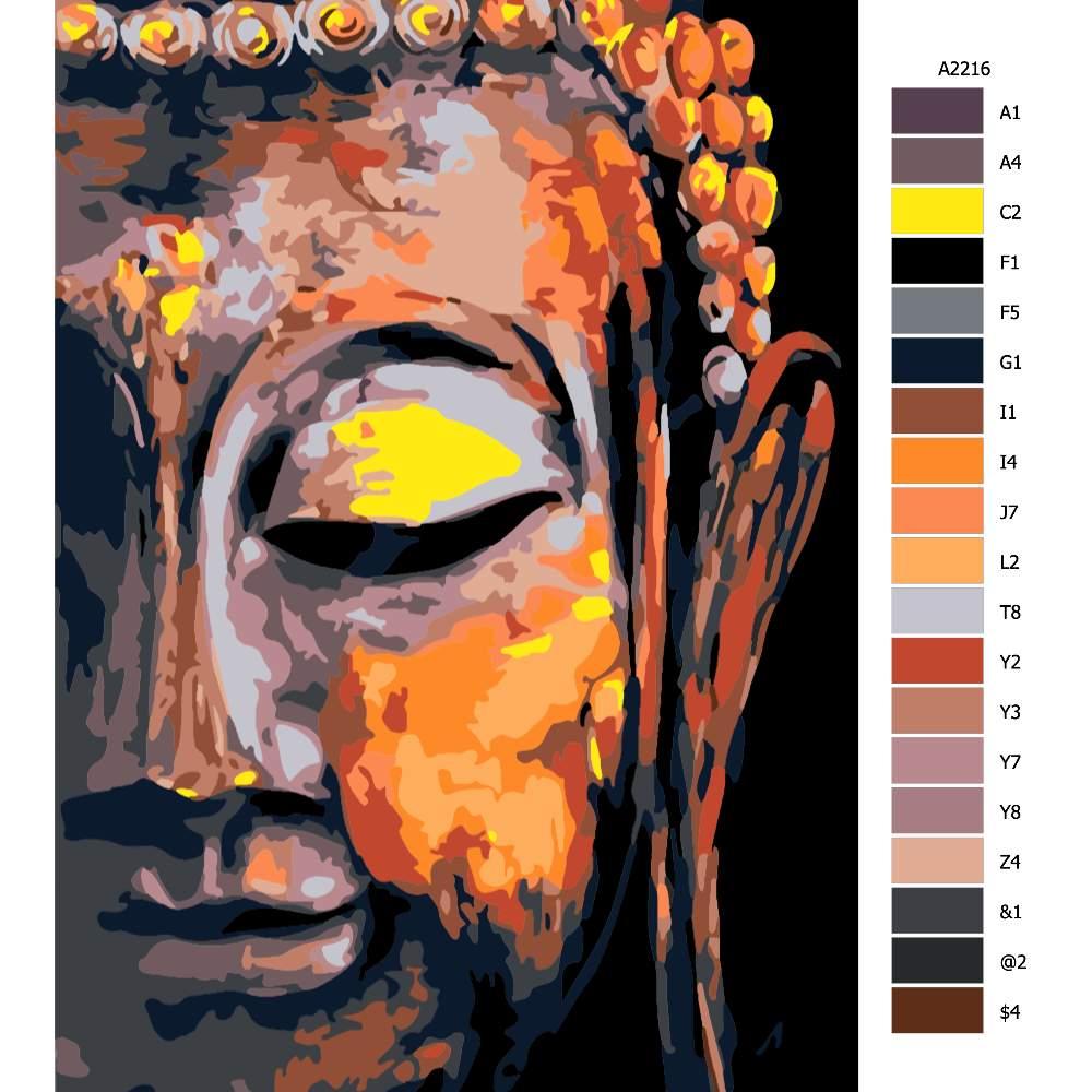 Návod pro malování podle čísel Buddha 02
