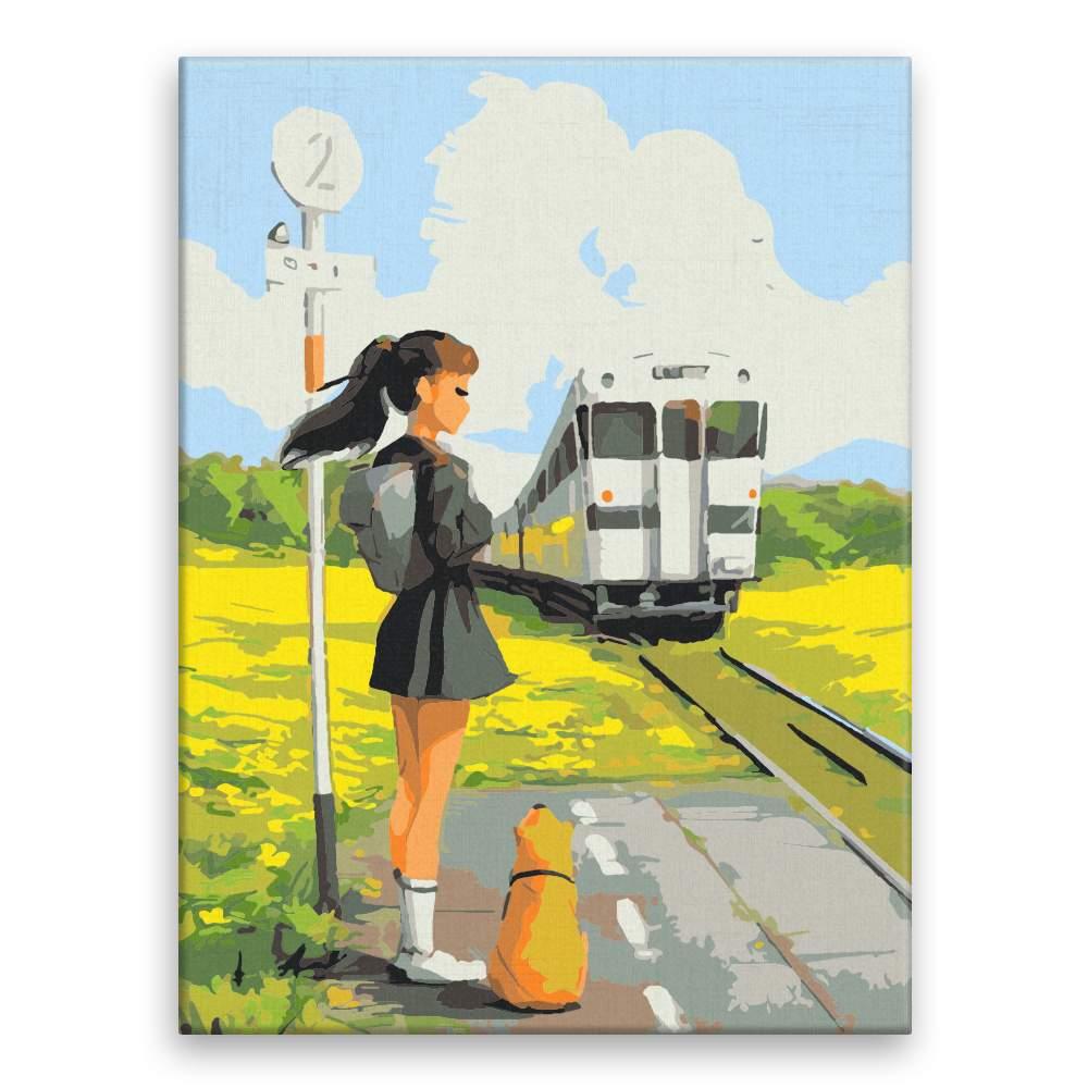 Malování podle čísel Čekání na vlak