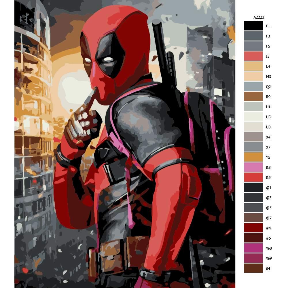 Návod pro malování podle čísel Deadpool 04