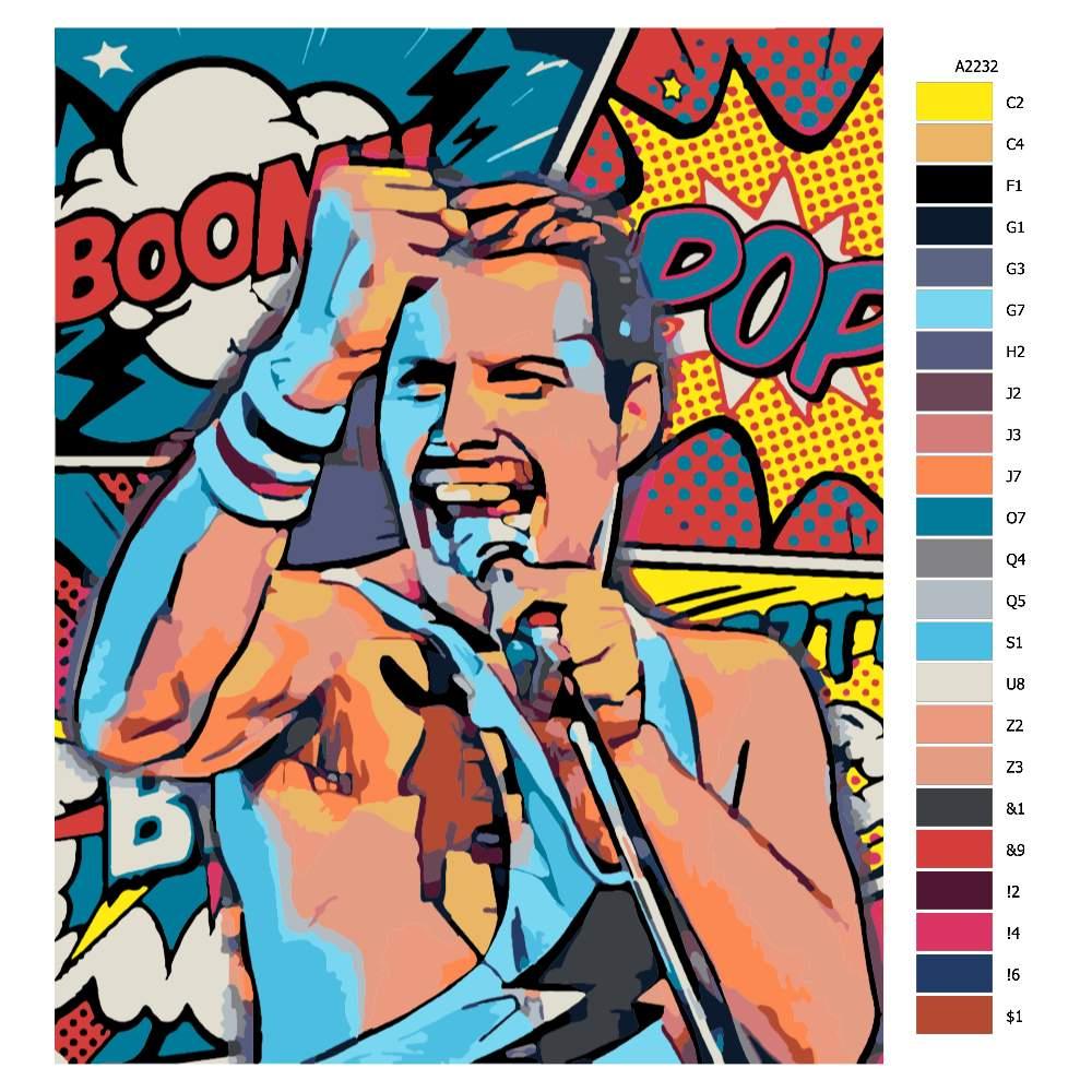 Návod pro malování podle čísel Freddie Mercury 03