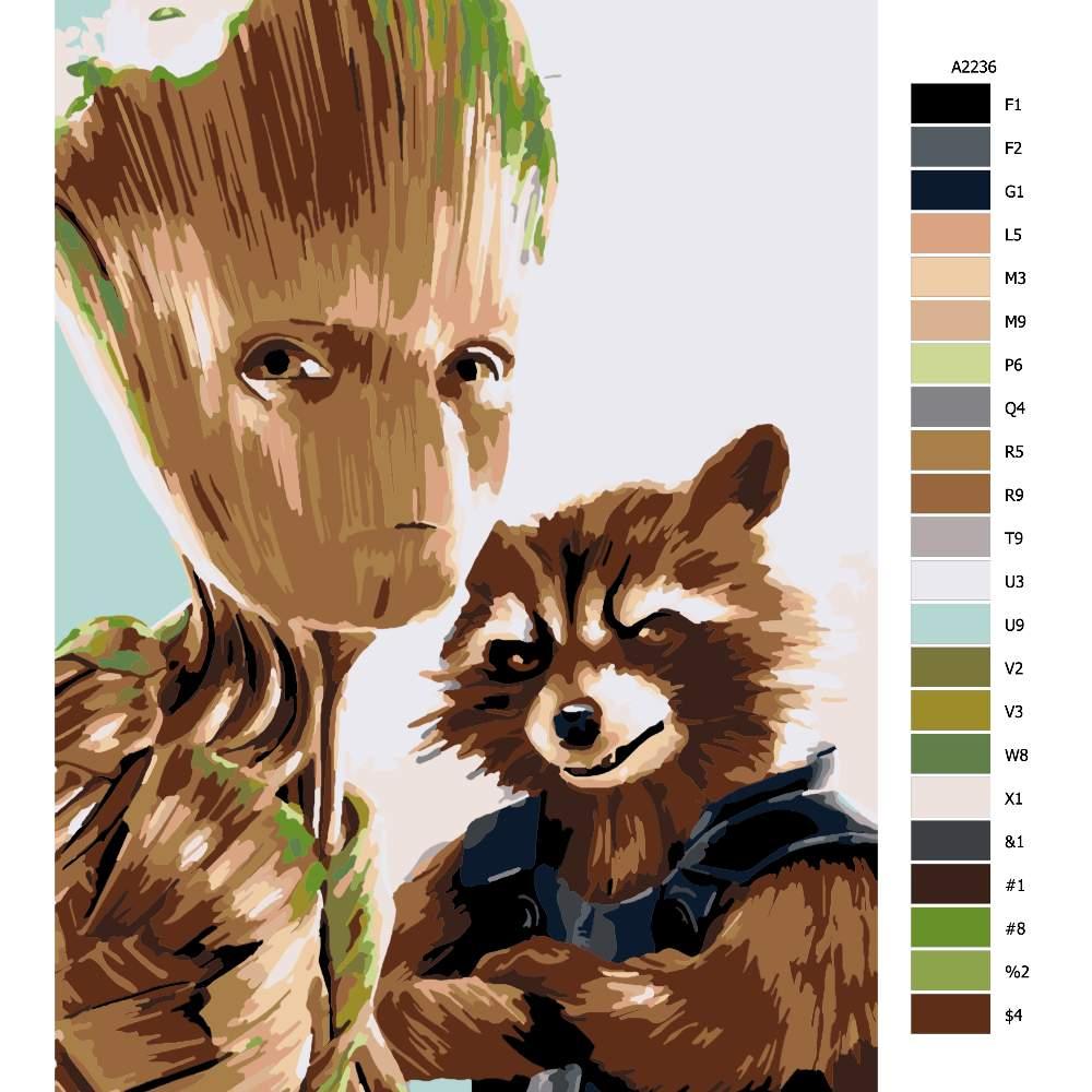 Návod pro malování podle čísel Groot 02