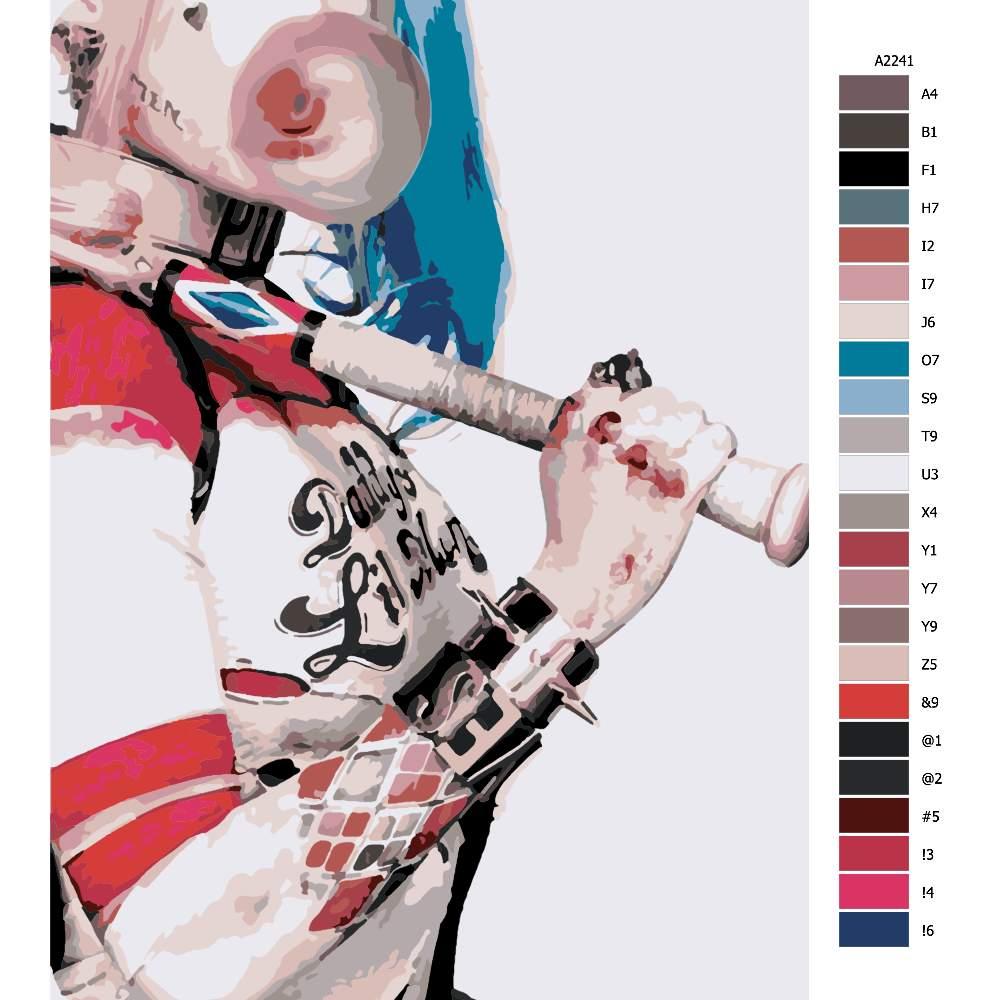 Návod pro malování podle čísel Harley Quinn 02