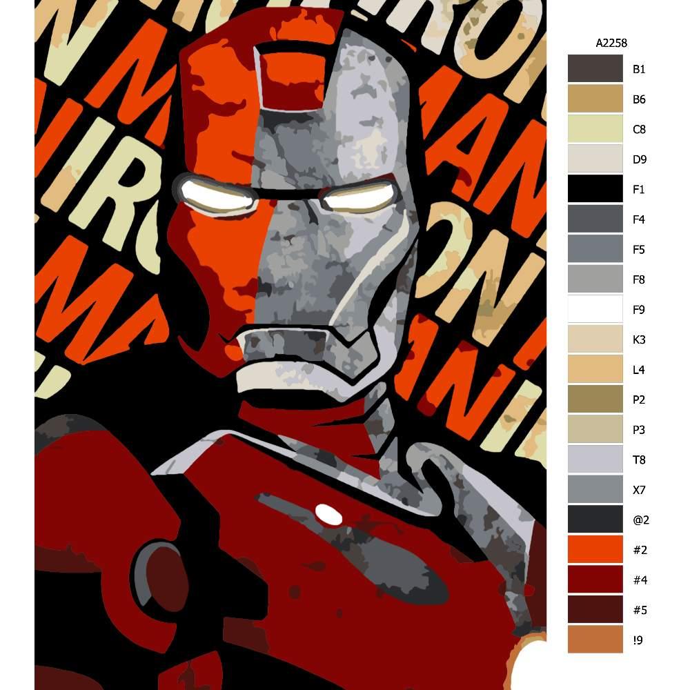 Návod pro malování podle čísel Ironman 01