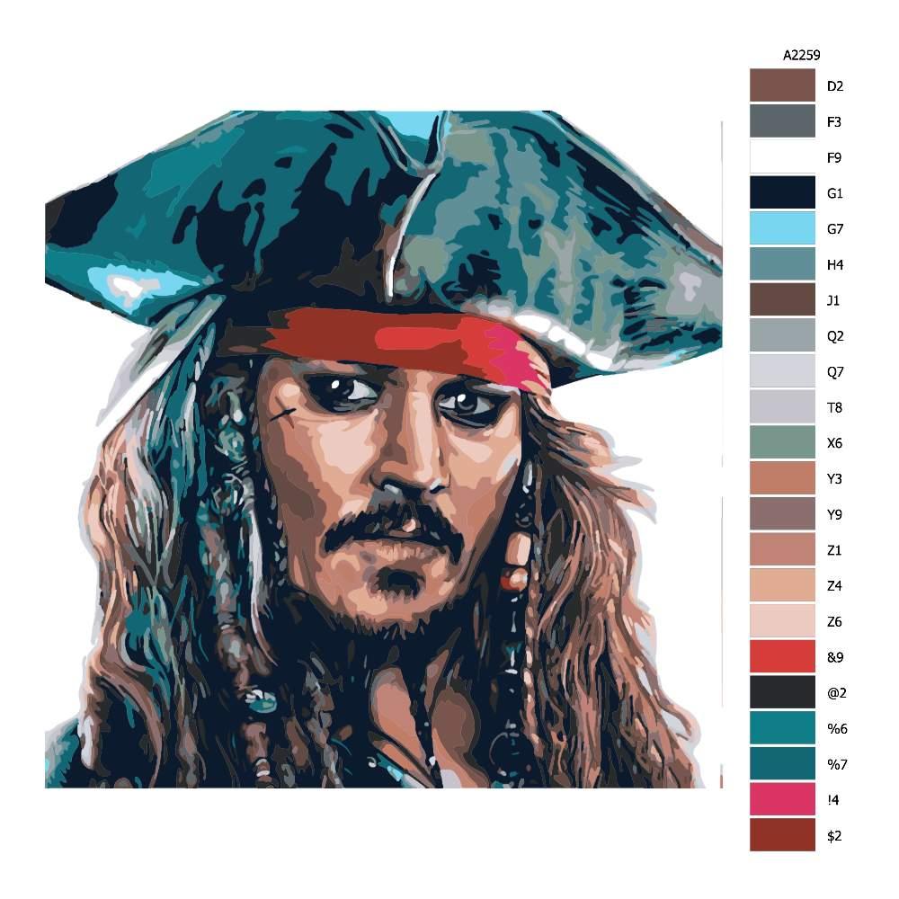 Návod pro malování podle čísel Jack Sparrow 01