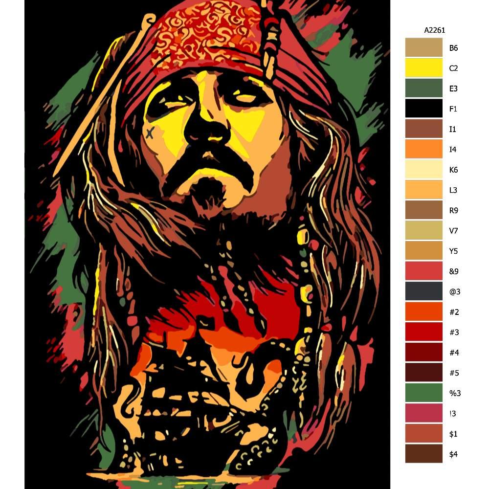 Návod pro malování podle čísel Jack Sparrow 03