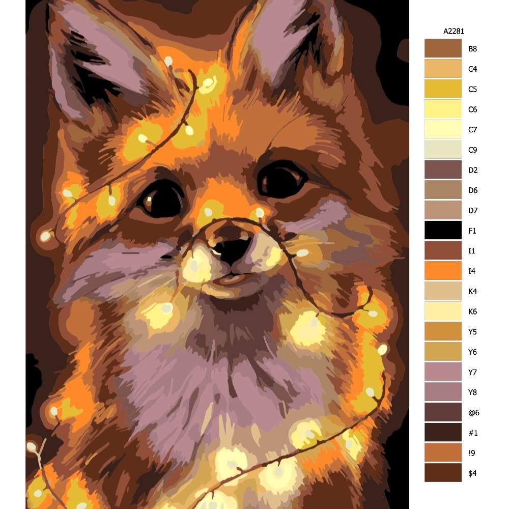 Návod pro malování podle čísel Liška se světýlky