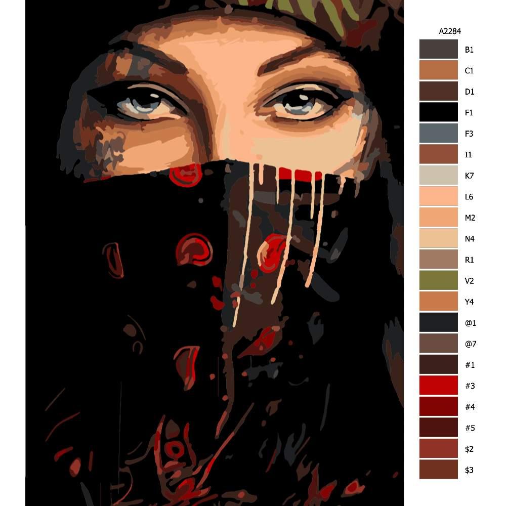 Návod pro malování podle čísel Maskovaná