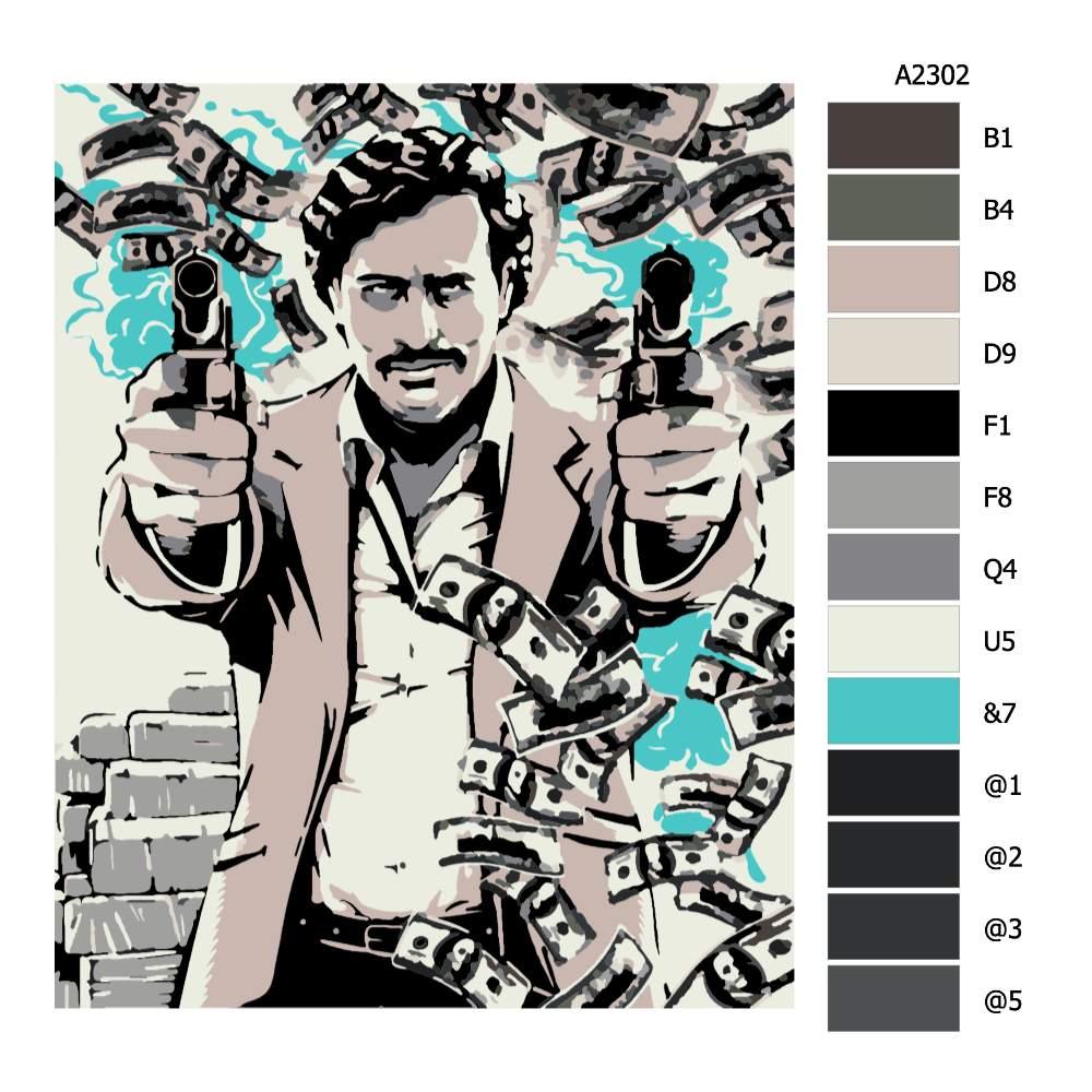 Návod pro malování podle čísel Pablo Escobar 01