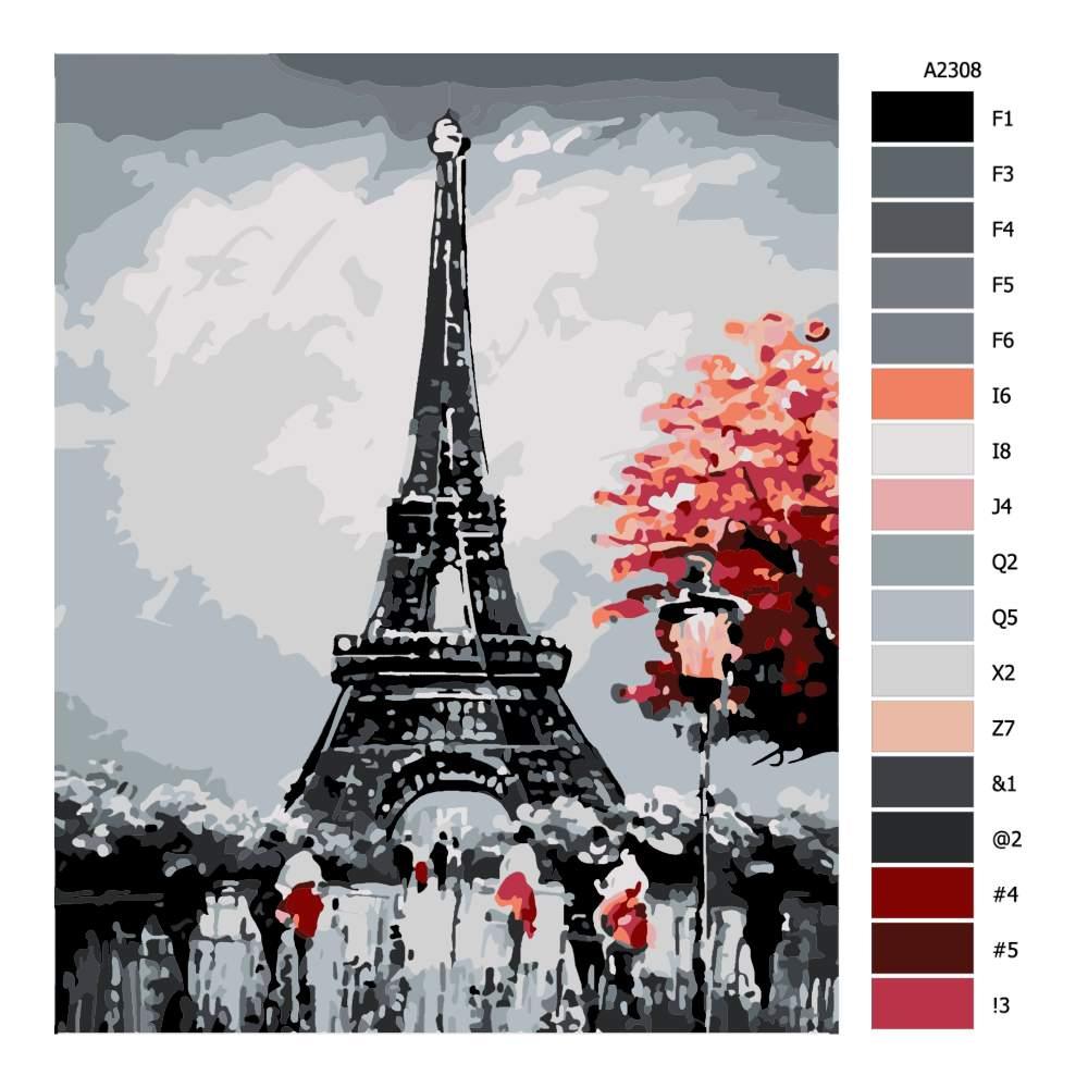 Návod pro malování podle čísel Paříž za soumraku