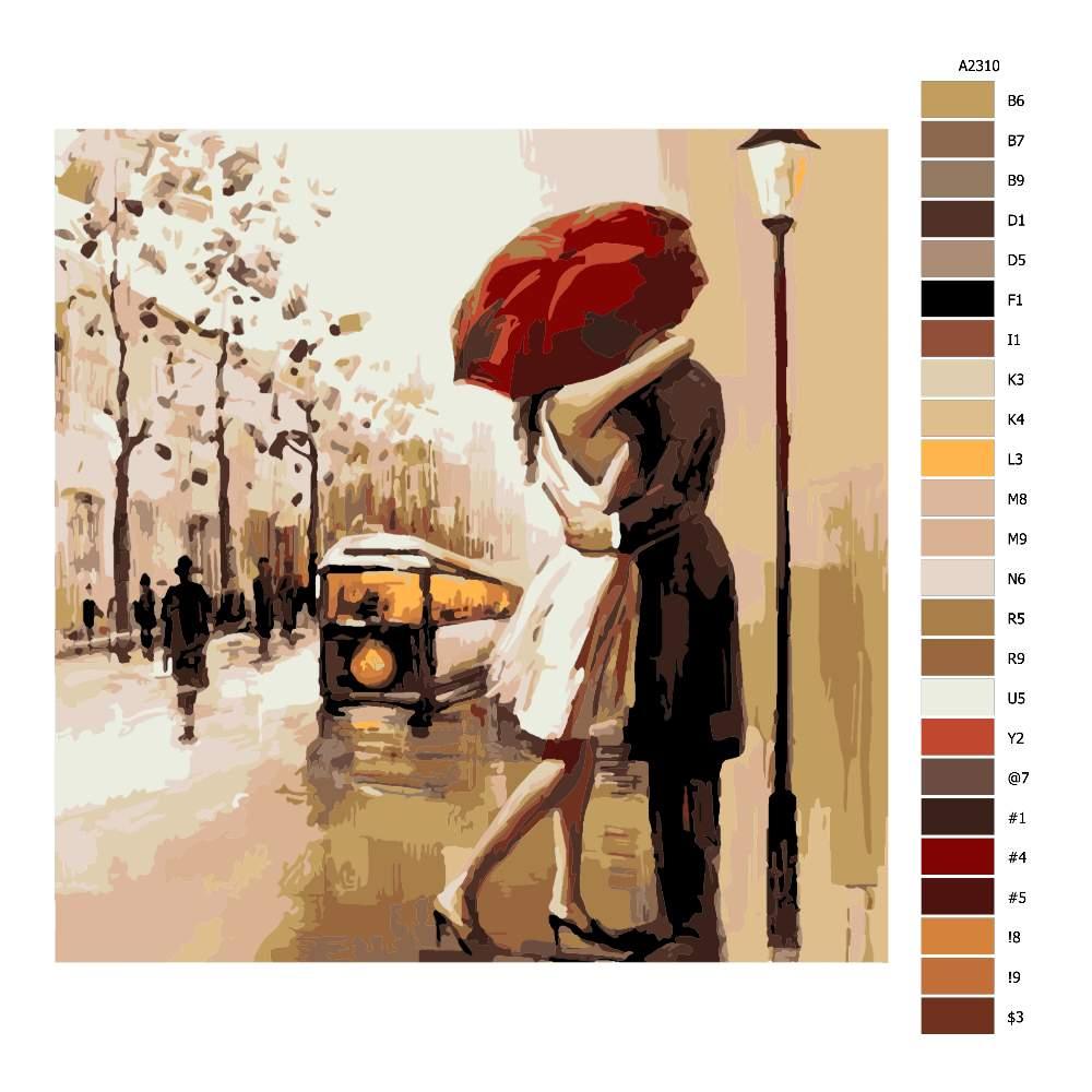 Návod pro malování podle čísel Pár pod deštníkem