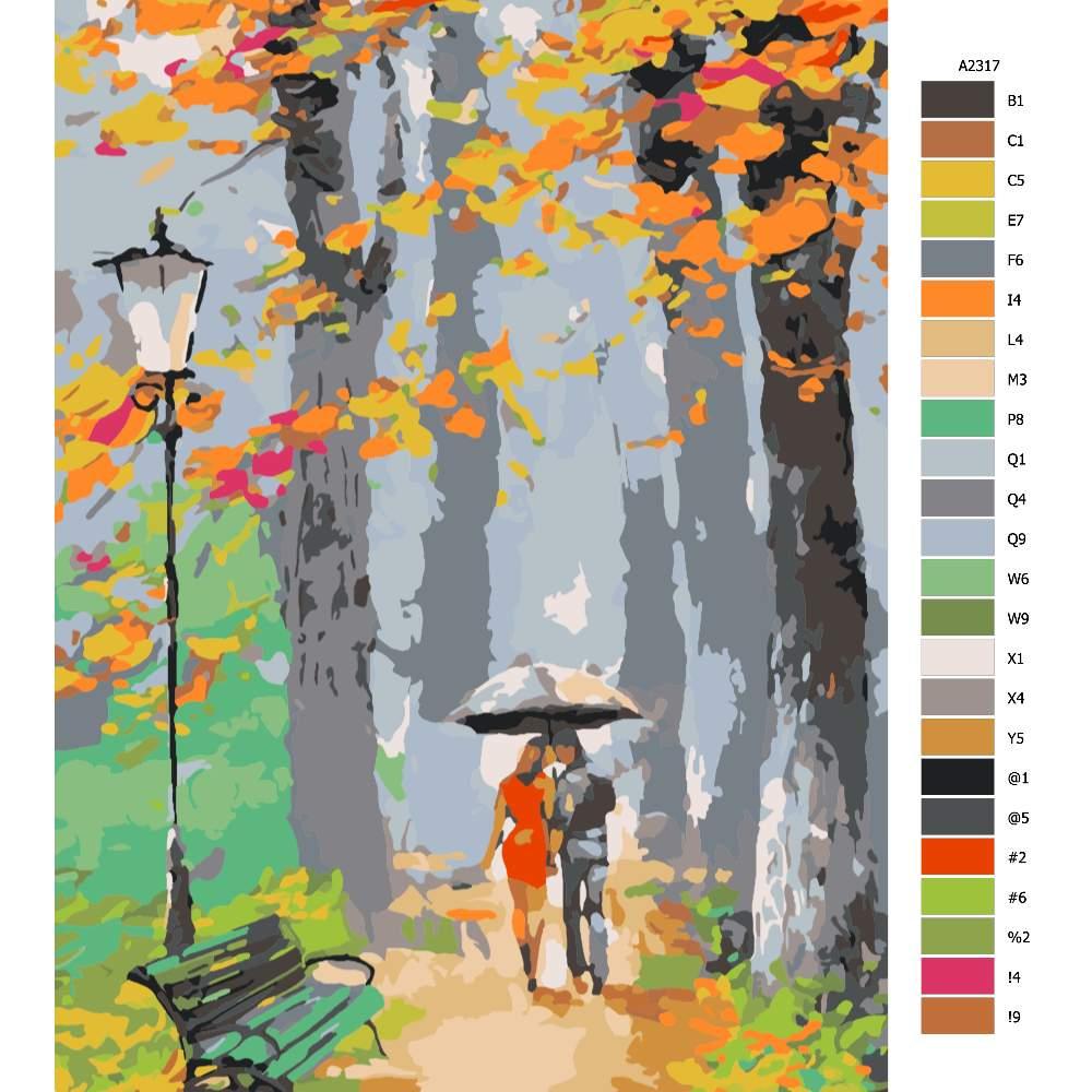Návod pro malování podle čísel Procházka v praku