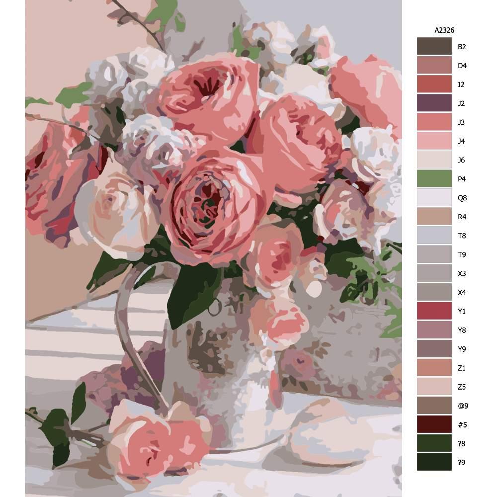 Malování podle čísel Růžové pivoňky