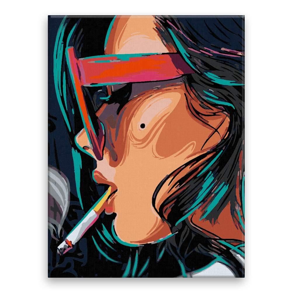 Malování podle čísel S cigaretou