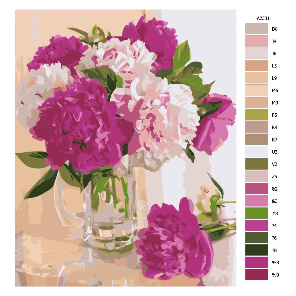 Návod pro malování podle čísel Skleněná váza