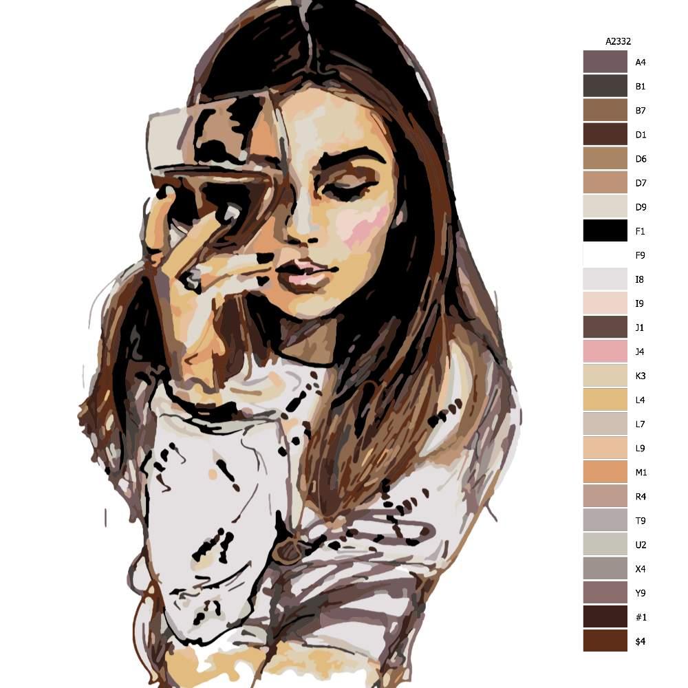 Návod pro malování podle čísel Se sklenicí vína