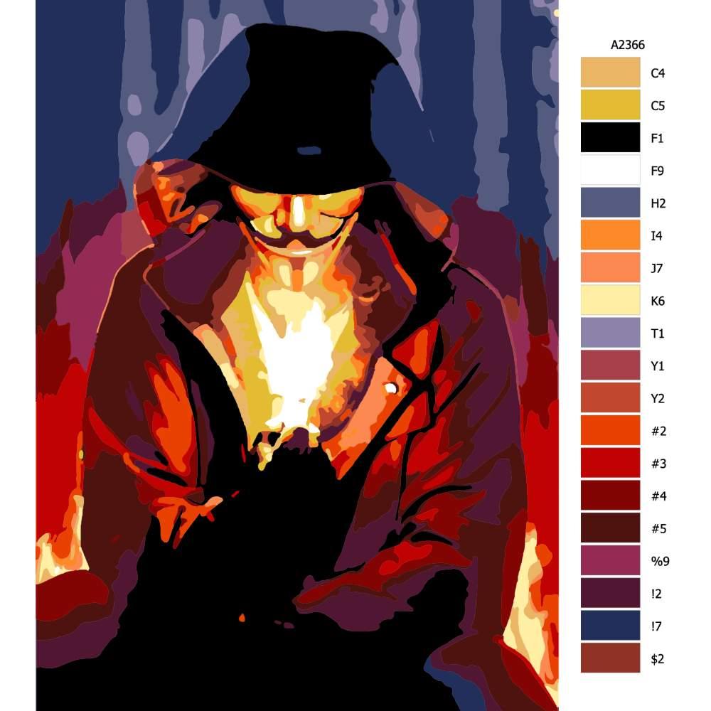 Návod pro malování podle čísel Vendeta 02