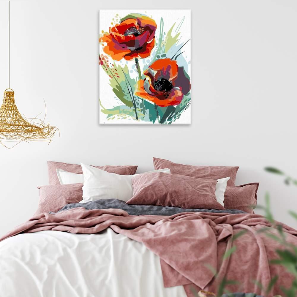 Malování podle čísel Vlčí máky v květu